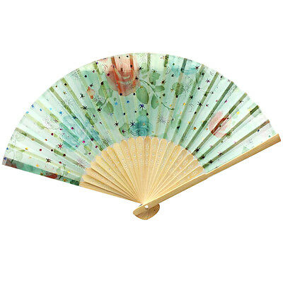 Vintage Small Hand Held Fan Lace Flower Floral Fabric Folding Wood Fan Party