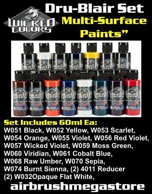 Wicked Airbrush Colours 60ml Dru-Blair Set Importer Direct + Free Insured Post