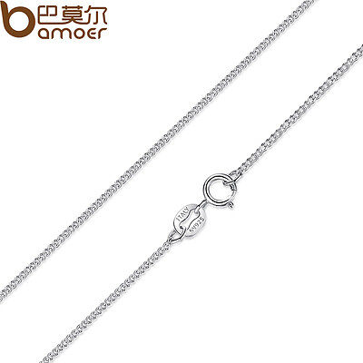 Bamoer Solid S925 Sterling Silver 45cm Necklace For Women Fashion Jewelry 1.2mm