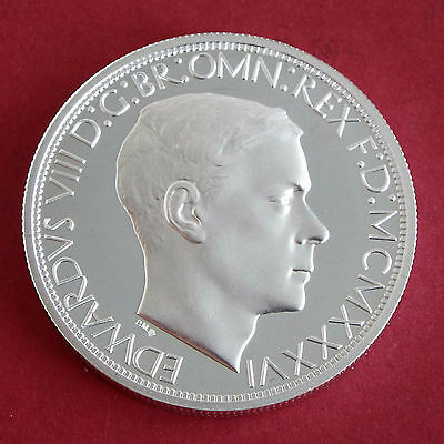 EDWARD VIII 1936 SILVER PROOF PATTERN GEORGE & DRAGON MILLED EDGE CROWN - coa