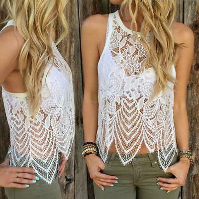 Fashion New Womens Blouse Lace Crochet Vest Tank Top Casual Sleeveless Blouse