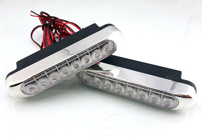 DRL Daytime Running Lights HIGH POWER 8 LED Day Fog Lamps 10cm Long 2pcs Kit