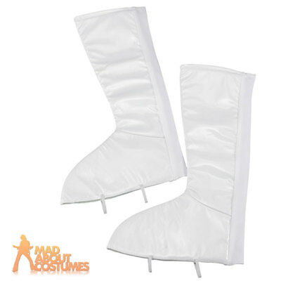 Gogo Boot Covers Deluxe White Ladies 1960s 1970s Hippy Fancy Dress Accessory New