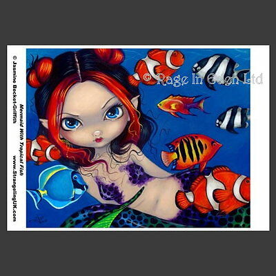 *MERMAID WITH TROPICAL FISH* A4 Photo Art Print By Jasmine Becket-Griffith
