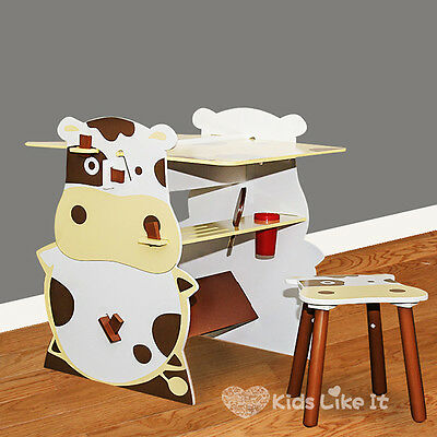 KIDS Toddlers COW Wooden TABLE CHAIR DESK SET Black Board DRAWING STAND 2 WAY