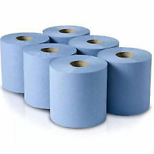 6 x Blue Roll Centre Feed Embossed 2 Ply