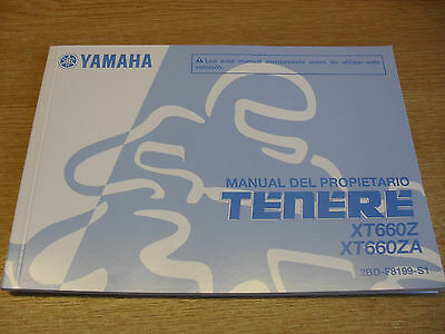 Genuine Yamaha Motorcycles Tenere Xt660Z Xt660Za Owners Manual In Spanish