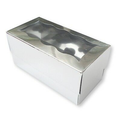 50 Silver 2 Hole Cupcake Boxes, Muffins, Fairy Cakes, Bath Bombs, Soaps