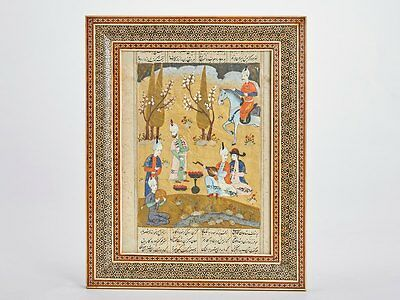 Antique Framed Qajar Persian Illustrated Manuscript 19Th C.