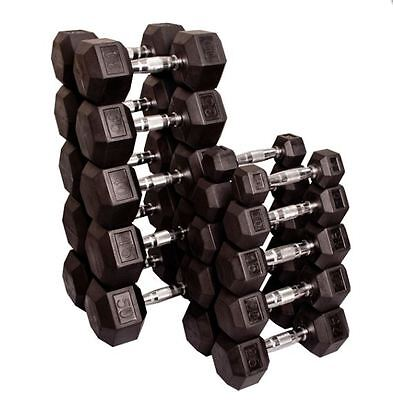 Body-Solid Rubber Coated Hex Dumbbell Pairs, 5-100 lbs, 2,100 lbs total