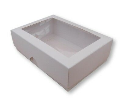 1 WHITE 6.5 x 4 INCH BOXES WITH WINDOW, GIFTS, CAKES, GARMENTS ETC