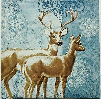 DEER BLUE 2 individual LUNCH SIZE paper napkins for decoupage 3-ply