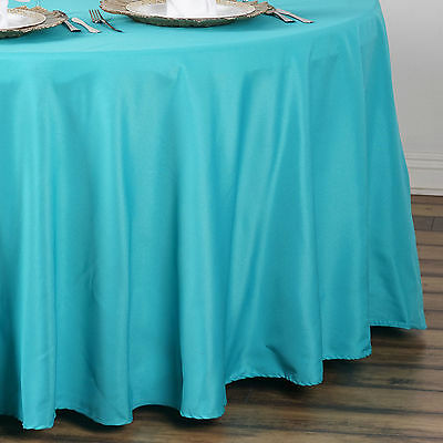 "10 TURQUOISE 90"" ROUND POLYESTER TABLECLOTHS Wholesale Restaurant Quality SALE"