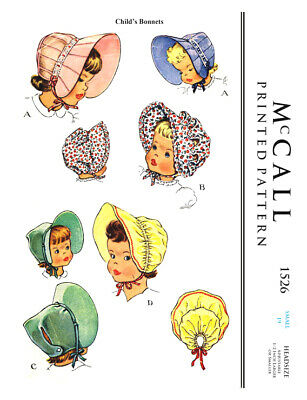 """Baby BONNET Vintage  McCall Fabric Material Sewing Pattern Sz 19"""" #1526"""