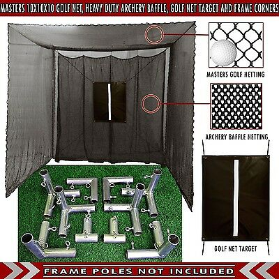Golf Cage Practice Net 10' x 10' x 10' Frame Corners & Baffle Included