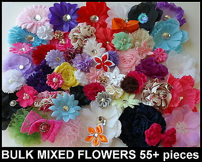 55pcs BULK MIXED FLOWERS BOW EMBELLISHMENT APPLIQUE PACK DIY HEADBAND HAIR CLIP