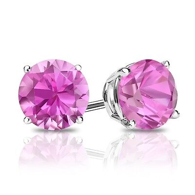 2 Ct Round Pink Earrings Studs Real 14K White Gold Brilliant Screw Back Basket