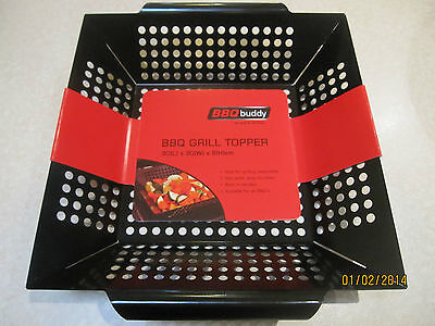 BBQ Barbecue Grill Topper Vegetable Wok Basket Non Stick Suitable For All BBQ