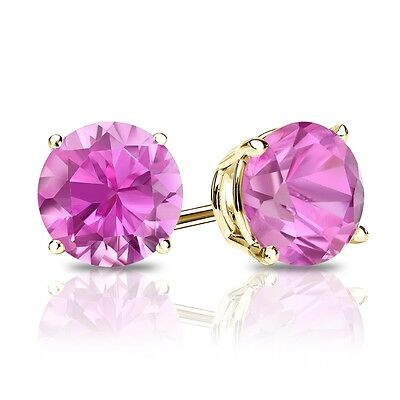 2 Ct Round Pink Earrings Studs Real 14K Yellow Gold Brilliant Screw Back Basket