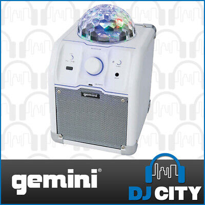 Gemini MPA-500W White Bluetooth Speaker System with LED Disco Ball Colour Lig...