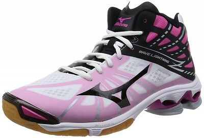 MIZUNO Wave Lightning Z MID Volleyball Shoes WHITExBLACK/Magenta (Choose Size)