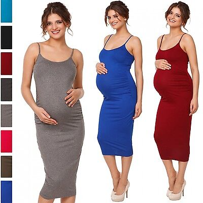 Happy Mama. Women's Pregnancy Stretch Bodycon Midi Dress Strappy Maternity. 809p