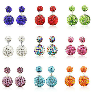 1 Pair Fashion Women Jewelry Double Sided Crystal Beads Ear Stud Earring 12/14MM