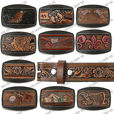 Mens Big Sizes Genuine Leather Pattern Designed Press Stud Removable Buckle Belt