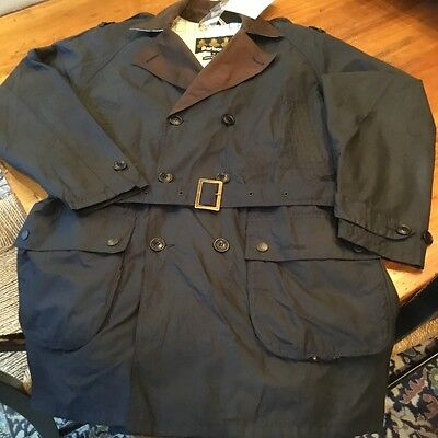 "Barbour Men's ""Owner"" Waxed Jacket, Navy Blue, Large New With Tags MSRP$499"