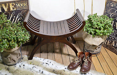 Gondola Style Seat Stool Seater Chair Bench Brown Teak Wood Colonial Style