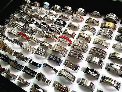 wholesale lots 60PCs mix styles high quality men's women's fashion steel rings