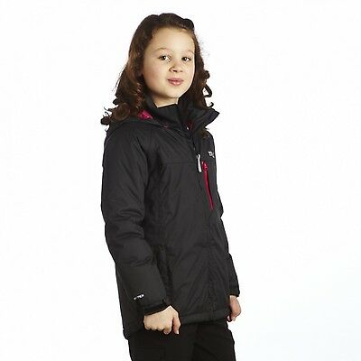 Regatta Dancealong Girls Waterproof Hooded Padded Insulated Jacket Black