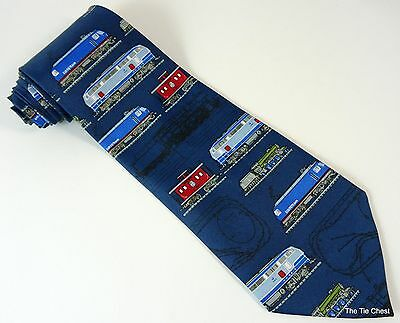 Tie With Trains and Cable Cars Blue Railroad Necktie Locomotives