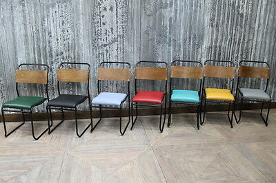 Padded Vintage Stacking Chairs Colourful Upholstered Dining Restaurant Chairs