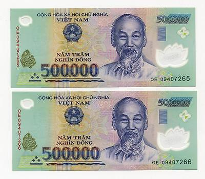 1,000,000 VIETNAM DONG 2 x 500,000 UNCIRCULATED POLYMER BANKNOTES NEW CURRENCY