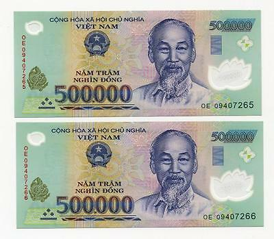 1,000,000 Vietnam Dong 2 x 500,000 UNCIRCULATED Polymer Banknote NEW Currency