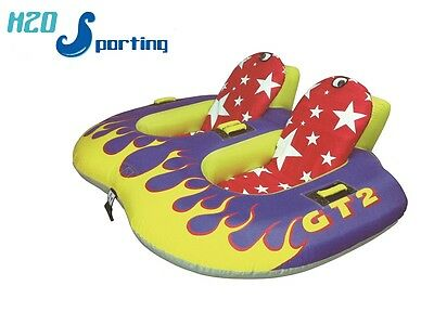H2O Sporting Flaming GT2 2 Person Safe Sit in Water Ski Tube / Towable &Tow Rope