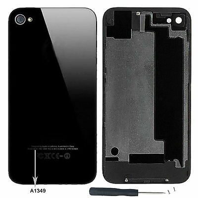 3X Black NEW Rear Glass Back Cover Battery Door For iphone 4 CDMA / A1349