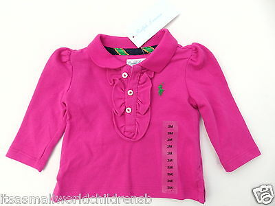 Baby Girl ruffle POLO Shirt TOP * RALPH LAUREN 3M college pink BNWT