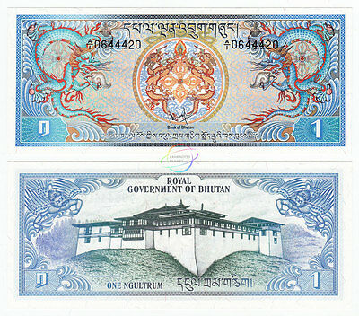 BHUTAN 1 Ngultrum A/1 Prefix 1981 P-5 UNC Uncirculated