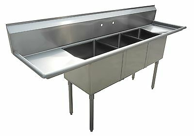Excalibur Commercial Stainless Steel (3) Three Compartment Sink 18x18x12  New!!