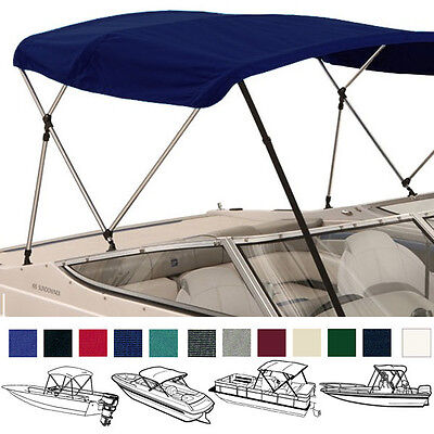 "Bimini Top Boat Cover Navy 3 Bow 72""l 46""h 85""-90""w - W/ Boot & Rear Poles"