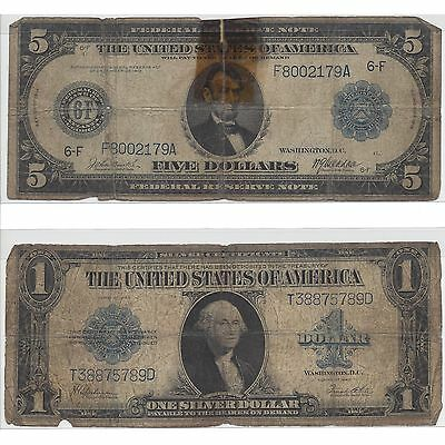 Older U.S. Note Variety Lot - Series of 1914 $5 & Series of 1923 $1
