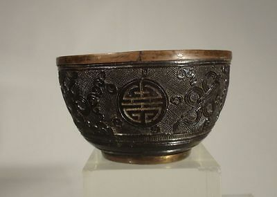Antique Chinese Carved Coconut Shou Cup Pewter Liner Daoist Items