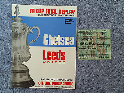 1970 - FA CUP FINAL REPLAY PROGRAMME + MATCH TICKET - CHELSEA v LEEDS UTD