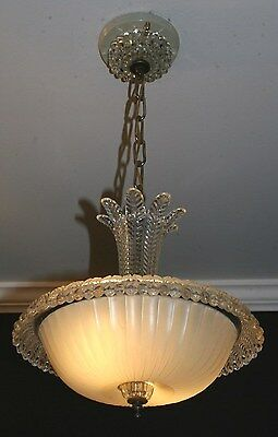 Antique cream glass art deco light fixture ceiling chandelier 1940s