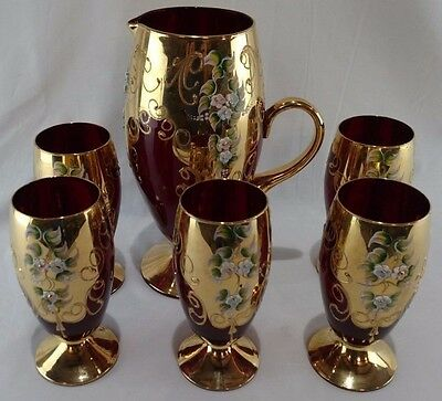 Antique Bohemian Czech Cranberry red glass 24k Gold trim Pitcher W/ 5 Glasses