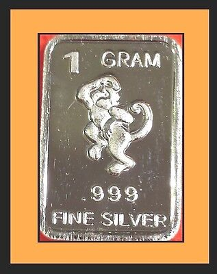 New 1 gm. Whason Mint .999 silver bar -  The Monkey    ++ADD-ONs available!