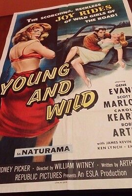 Young and Wild 1958 Original Movie Poster 27x41 Wild Girls on the road!