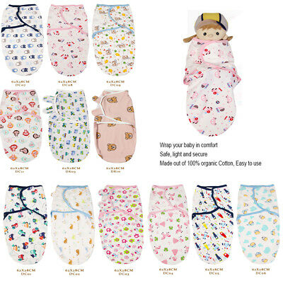 Organic Cotton new Baby Infant Swaddle Easy Wrap Swaddling Blanket 0-4 Months